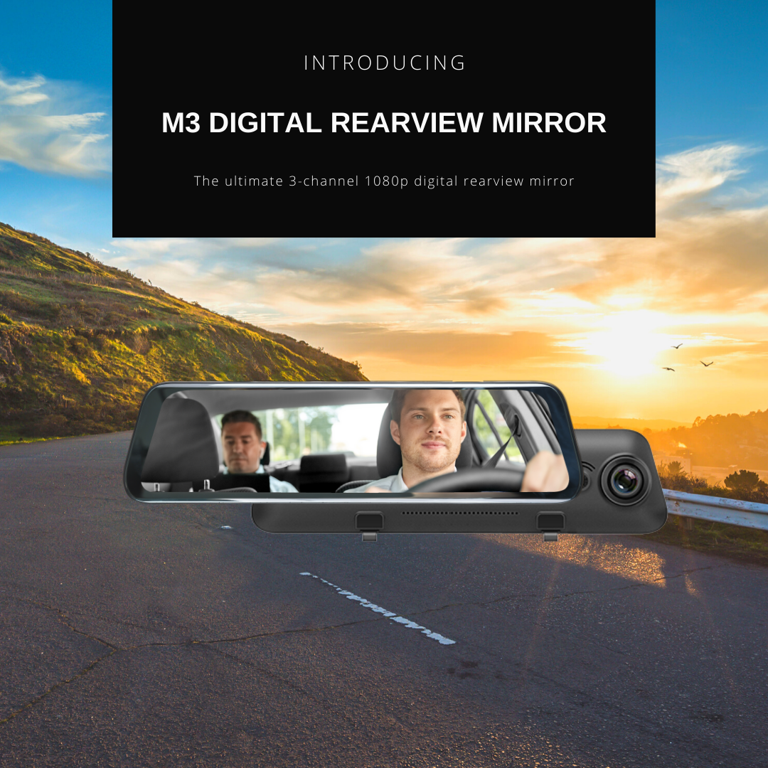 Introducing M3 3-channel 1080p digital rearview mirror dash cam